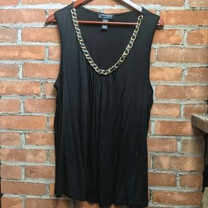 Black Tank Top With Gold And Leather Collar Detail